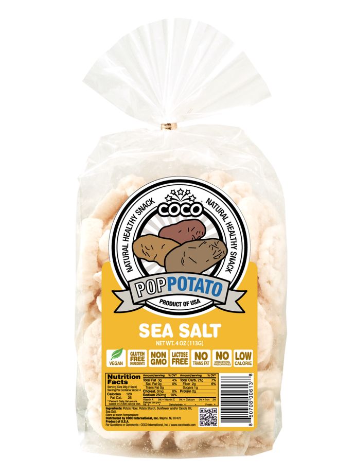 COCO LITE: Pop Potato Sea Salt, 4 oz - Vending Business Solutions