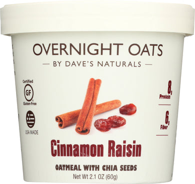 DAVES GOURMET: Oats in Cup Cinnamon Raisin, 2.1 oz - Vending Business Solutions