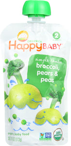 HAPPY BABY: Stage 2 Broccoli Peas & Pear Organic, 3.5 oz - Vending Business Solutions