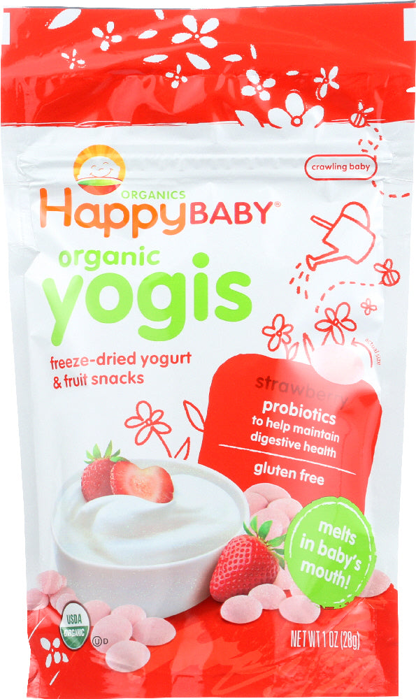 HAPPY BABY: Organic Yogis Yogurt and Fruit Snacks Strawberry, 1 oz - Vending Business Solutions