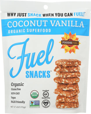 FOODIE FUEL: Fuel Snack Coconut Vanilla Organic, 4 oz - Vending Business Solutions