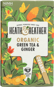 HEATH AND HEATHER: Organic Green Tea and Ginger, 20 ea - Vending Business Solutions