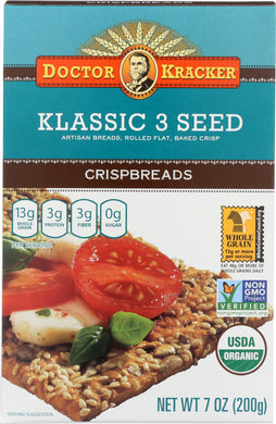 DOCTOR KRACKER: Organic Klassic 3 Seed Crispbreads, 7 oz - Vending Business Solutions