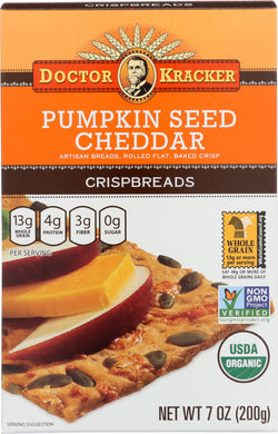 DOCTOR KRACKER: Organic Crispbreads Pumpkin Seed Cheddar, 7 oz - Vending Business Solutions
