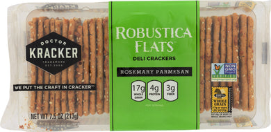 DOCTOR KRACKER: Robustica Flats Deli Crackers Rosemary Parmesan, 7 oz - Vending Business Solutions
