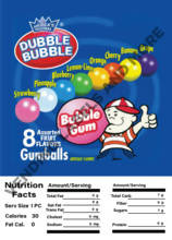 GUMBALL/CANDY DISPLAY CARD WITH NUTRITION INFORMATION 4.5