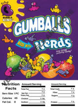 "Load image into Gallery viewer, GUMBALL/CANDY DISPLAY CARD WITH NUTRITION INFORMATION 4.5"" X 6.25"" - Vending Business Solutions"