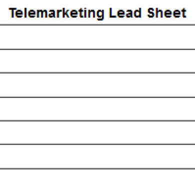 Telemarketing Lead Sheet For Vending Machine Placements