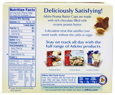 ATKINS: Endulge Treat Peanut Butter Cup (5x1.2oz packs), 6 oz - Vending Business Solutions