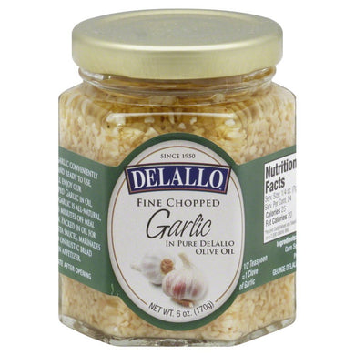DELALLO: Fine Chopped Garlic in Olive Oil, 6 oz - Vending Business Solutions