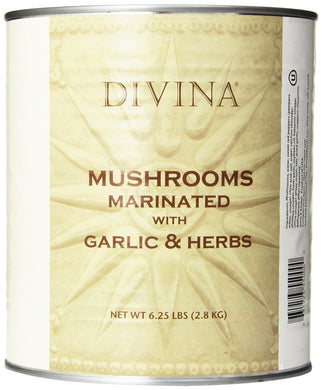 DIVINA: Mushrooms Marinated with Garlic & Herbs, 6.25 lb - Vending Business Solutions