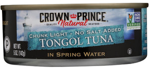 CROWN PRINCE NATURAL: Tongol Tuna in Spring Water No Salt Added, 5 oz - Vending Business Solutions