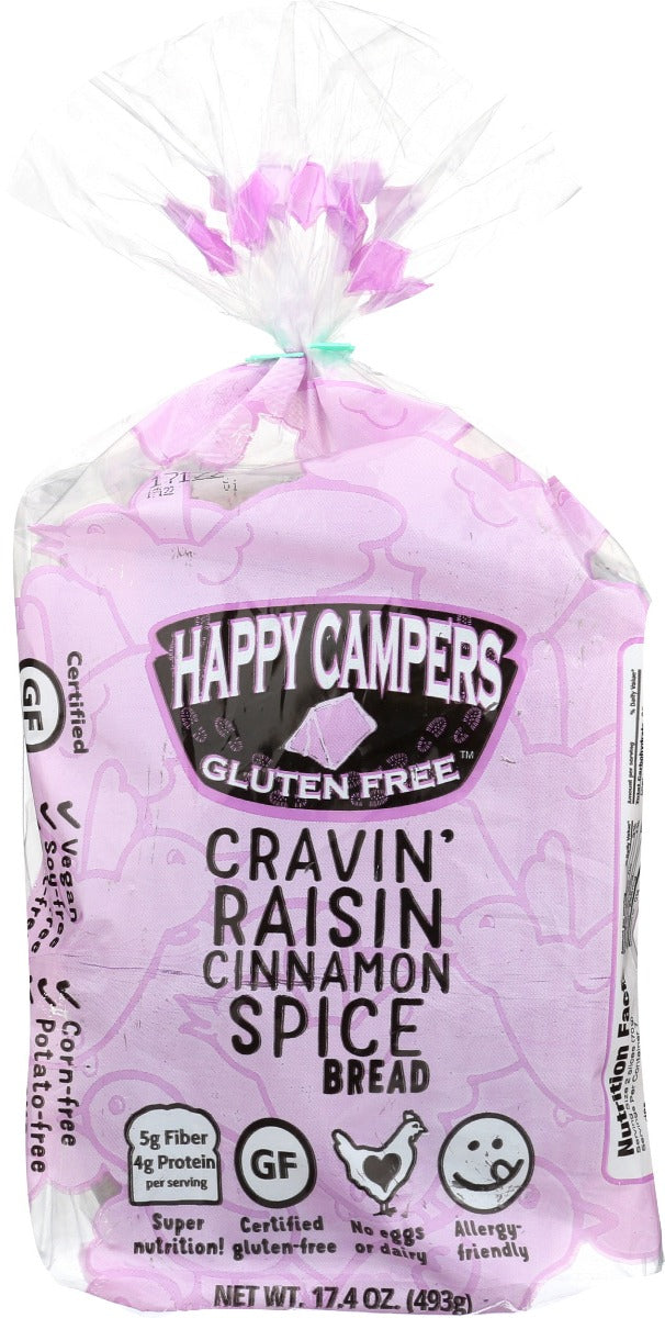 HAPPY CAMPERS GLUTEN FREE: Cravin' Raisin Cinnamon Spice Bread, 17.40 oz - Vending Business Solutions