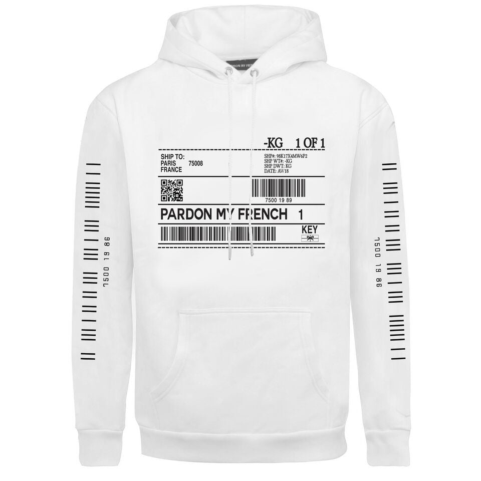 PARDON MY FRENCH BAR CODE WHITE HOODIE