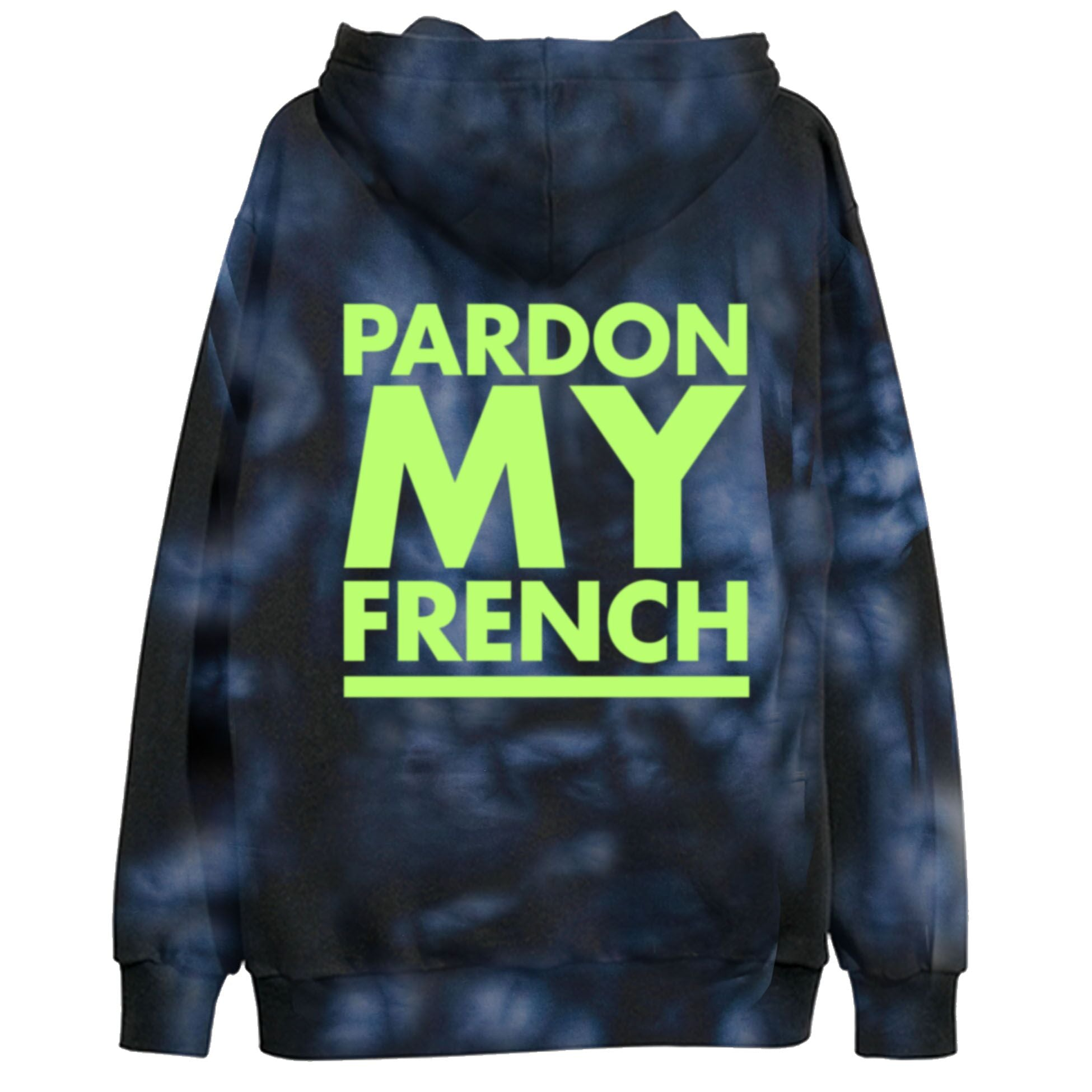 Pardon My French TIEDYE Hoodie - Neon Green Logo