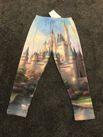 Cinderella castle rainbow Disney painting Capri leggings Size -S