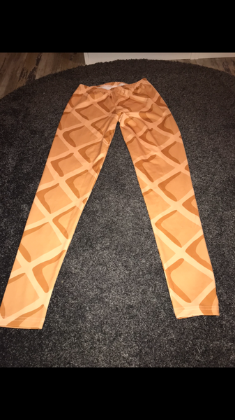 Orange print leggings size -S