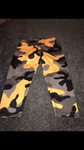 Yellow and black camo 3/4 length leggings size-S