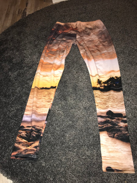 Sunset on a beach leggings Size -M