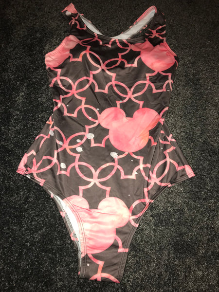 Pink Micky mouse print padded swim suit Size-M