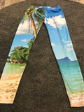 Beach and plam tree print leggings size-L