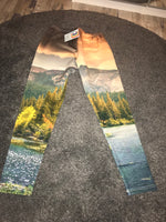 National park mountain print fleece leggings Size-M