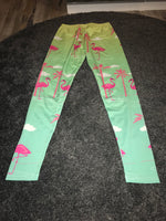 Pink flamingo print leggings Size -M