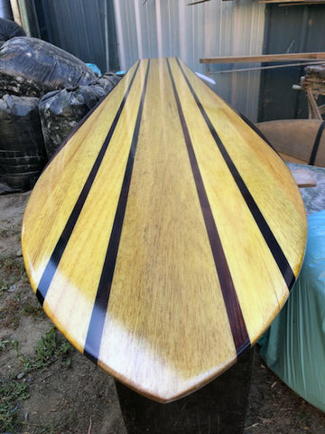 Balsa wood surfboard shaped by Jim phillips