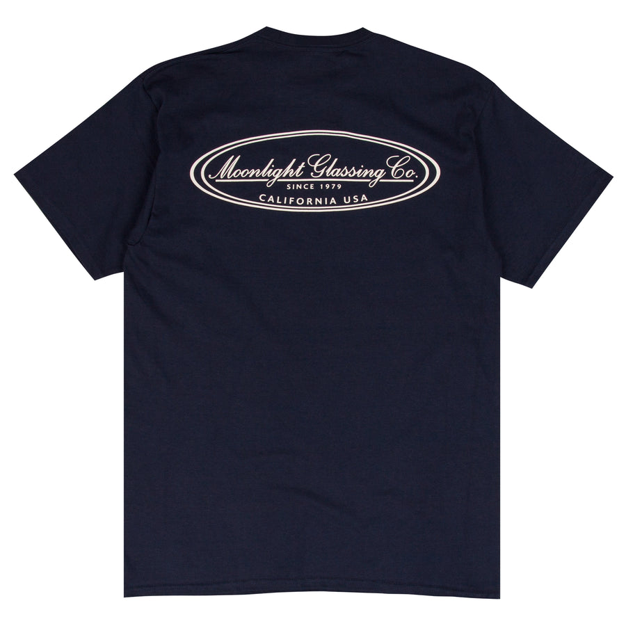 Moonlight Glassing Co. navy surf t-shirt design