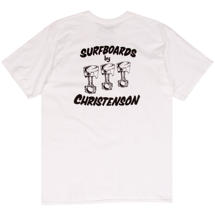 Chris Christenson white surf t-shirt designe