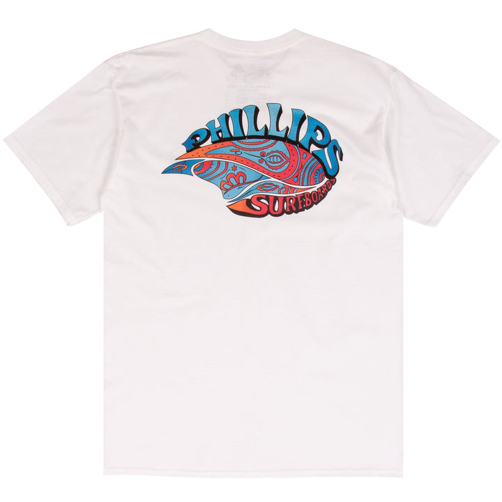 Jim Phillips white surf t-shirt design
