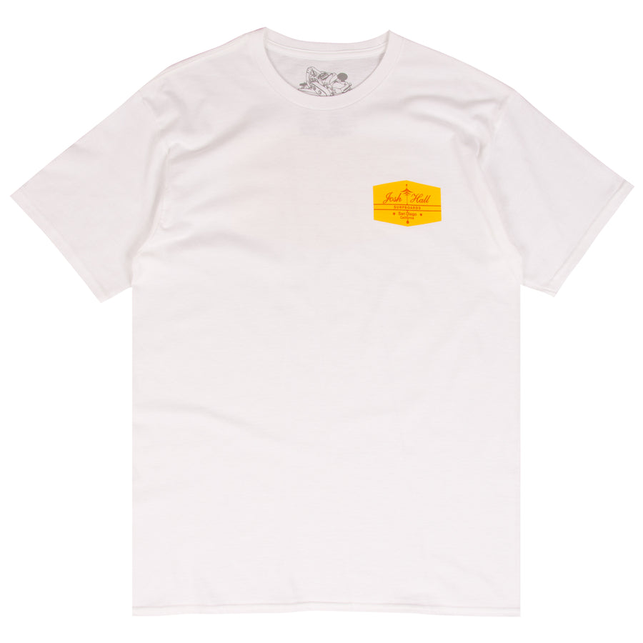 Josh Hall white surf t-shirt designed by Thomas Campbell