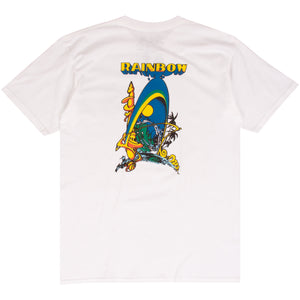 Rainbow Surfboards white surf t-shirt designed by Bill Ogden
