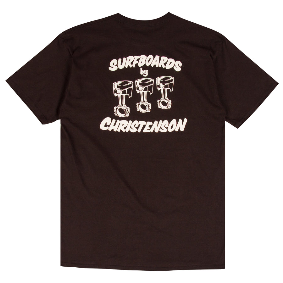 Chris Christenson black surf t-shirt design