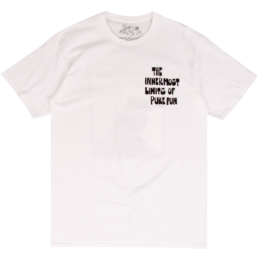 The Innermost Limits of Pure Fun white surf t-shirts with George Greenough
