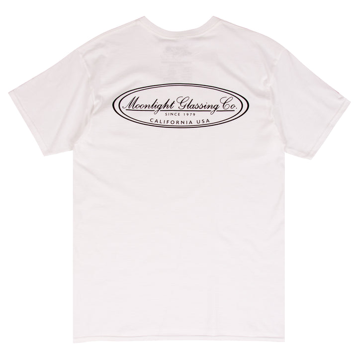 Moonlight Glassing Co. white surf t-shirt design