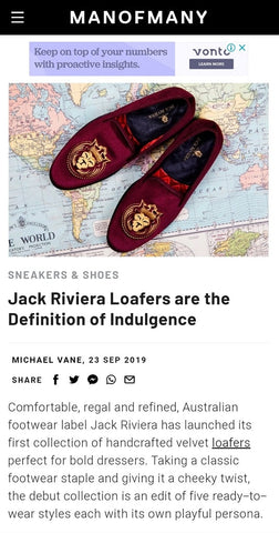 jack riviera loafers velvet handmade shoes man of many article press coverage