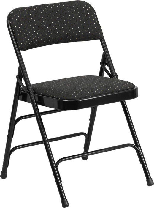 Flash Furniture AW-MC309AF-BLK-GG HERCULES Series Curved Triple Braced & Double-Hinged Black Patterned Fabric Metal Folding Chair