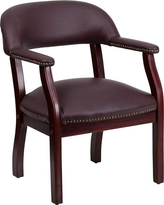 Flash Furniture B-Z105-LF19-LEA-GG Burgundy Top Grain Leather Conference Chair with Accent Nail Trim