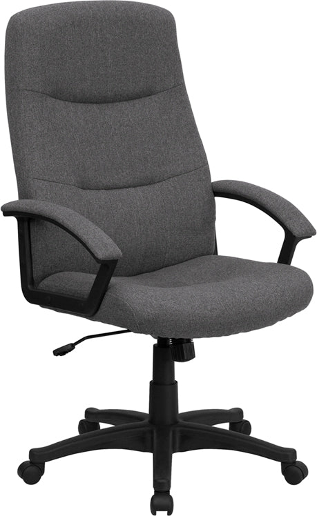Flash Furniture BT-134A-GY-GG High Back Gray Fabric Executive Swivel Chair with Arms