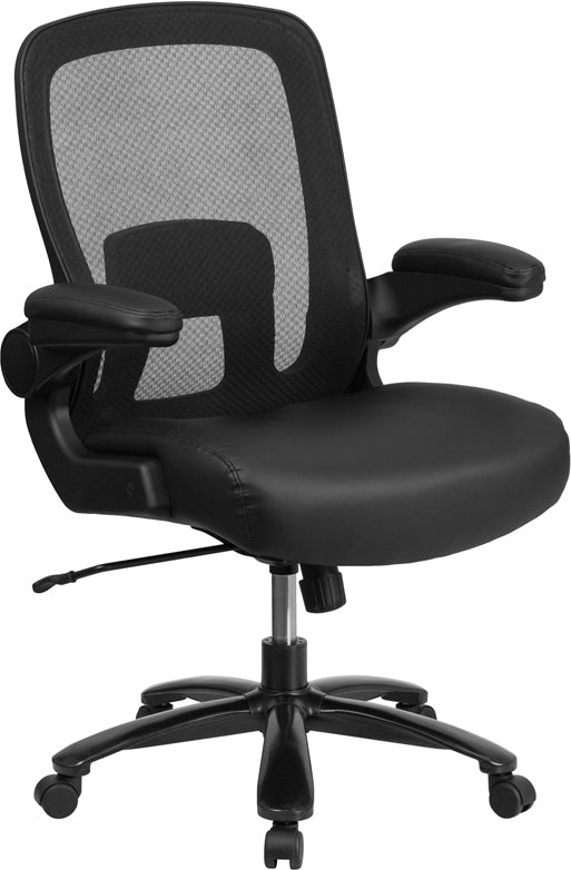Flash Furniture BT-20180-LEA-GG HERCULES Series Big & Tall 500 lb. Rated Black Mesh Executive Swivel Chair with Leather Seat and Adjustable Lumbar