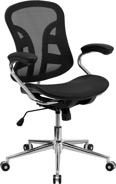 Flash Furniture BT-2779-GG Mid-Back Transparent Black Mesh Swivel Task Chair with Chrome Base and Arms