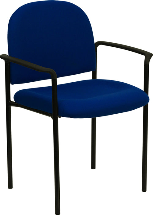 Flash Furniture BT-516-1-NVY-GG Comfort Navy Fabric Stackable Steel Side Reception Chair with Arms