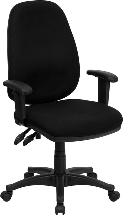 Flash Furniture BT-661-BK-GG High Back Black Fabric Executive Swivel Chair with Adjustable Arms