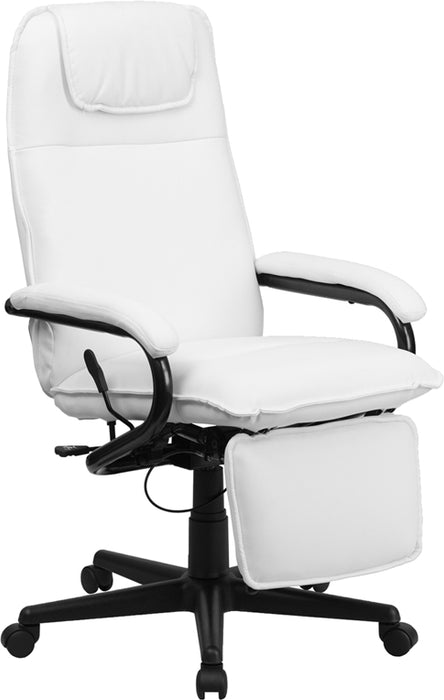 Flash Furniture BT-70172-WH-GG High Back White Leather Executive Reclining Swivel Chair with Arms