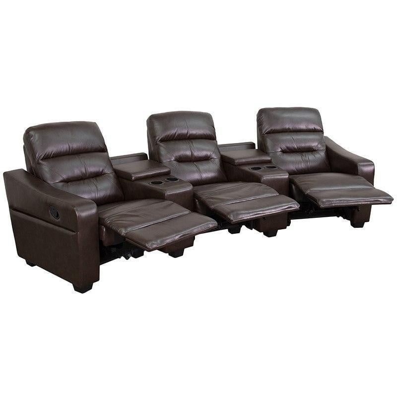 Flash Furniture BT-70380-3-BRN-GG Futura Series 3-Seat Reclining Brown Leather Theater Seating Unit with Cup Holders