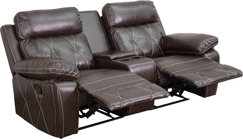 Flash Furniture BT-70530-2-BRN-GG Reel Comfort Series 2-Seat Reclining Brown Leather Theater Seating Unit with Straight Cup Holders