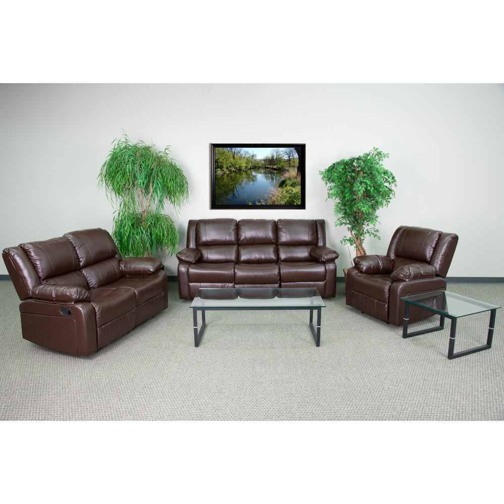 Flash Furniture BT-70597-RLS-SET-BN-GG Harmony Series Brown Leather Reclining Sofa Set