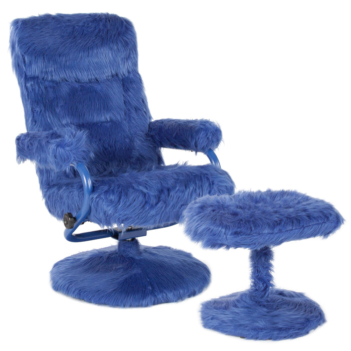 Flash Furniture BT-70621-FUR-NVY-GG East Side Contemporary Recliner and Ottoman in Navy Fur
