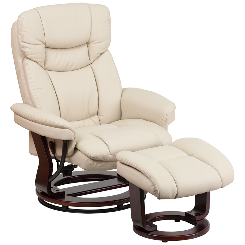 Flash Furniture BT-7821-BGE-GG Contemporary Beige Leather Recliner and Ottoman with Swiveling Mahogany Wood Base